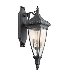 Venetian Rain 3 Light Outdoor Wall Lights in Black W/Gold 49132BKG