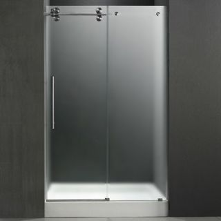 VIGO 48 inch Frameless Shower Door 3/8 Frosted/Stainless Steel Hardware Left wi