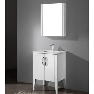 Madeli Caserta 24 Bathroom Vanity with Quartzstone Top   Glossy White