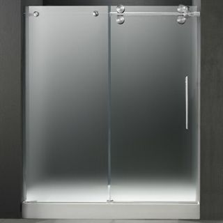 VIGO 60 inch Frameless Shower Door 3/8 Frosted/Chrome Hardware Right with White