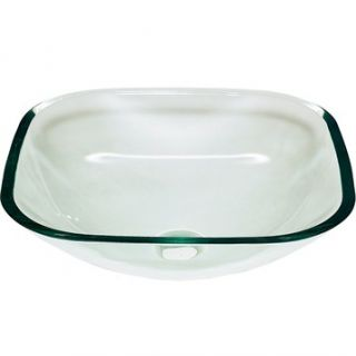 Jade Square Glass Vessel Sink   Clear