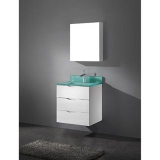 Madeli Bolano 24 Bathroom Vanity with Integrated Basin   Glossy White