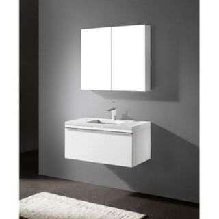 Madeli Venasca 36 Bathroom Vanity with Quartzstone Top   Glossy White