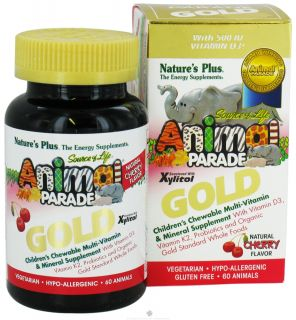 Natures Plus   Source Of Life Animal Parade Gold Childrens Multi Vitamin & Mineral Supplement Natural Cherry Flavor   60 Chewable Tablets