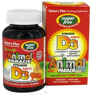 Natures Plus   Source Of Life Animal Parade Vitamin D3 Childrens Chewable Natural Black Cherry Flavor 500 IU   90 Chewable Tablets