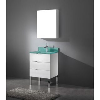 Madeli Milano 24 Bathroom Vanity with Integrated Basin   Glossy White