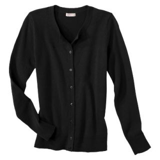 Merona Womens Ultimate Long Sleeve Crew Neck Cardigan   Black   L