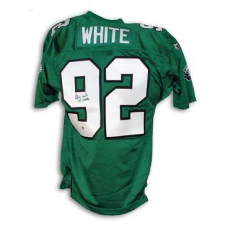 "NFL - Reggie White Philadelphia Eagles Autographed Green Authentic Wilson Jersey Inscribed ""198 Sacks"""