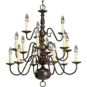 Progress Lighting Americana Collection 15 Light Antique Bronze Chandelier P4359 20