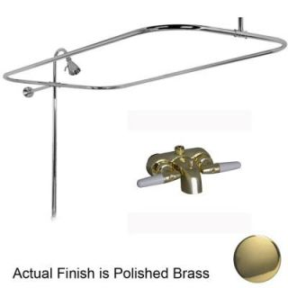 Pegasus 2 Handle Claw Foot Tub Faucet with Riser, 54 in. Rectangular Shower Ring and Showerhead in Polished Brass 4190 54 PB