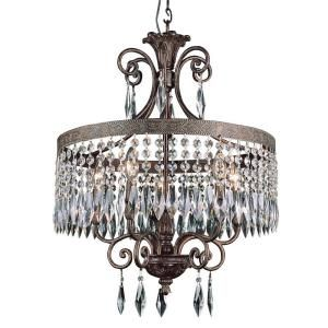 Filament Design Cabernet Collection 5 Light Patina Bronze Chandelier with Clear Crystal Prisms CLI WUP552974