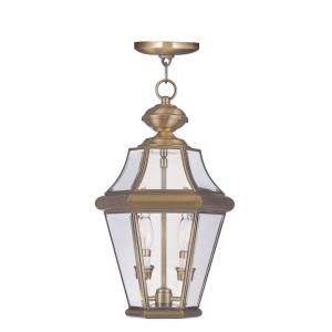 Filament Design Providence Collection 2 Light Outdoor Polished Brass with Clear Beveled Glass Pendant CLI MEN2265 01