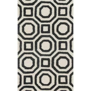 Loloi Rugs Weston Lifestyle Collection Ivory Black 2 ft. 3 in. x 3 ft. 9 in. Accent Rug WESNHWS07IVBL2339