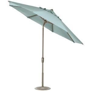 Home Decorators Collection 6 ft. Auto Tilt Patio Umbrella in Mist Sunbrella with Champagne Frame 1548720340