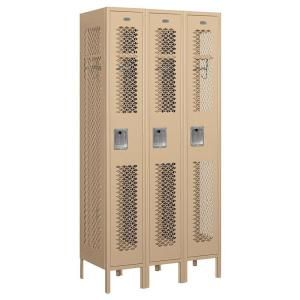 Salsbury Industries 71000 Series 36 in. W x 78 in. H x 18 in. D Single Tier Vented Metal Locker Assembled in Tan 71368TN A