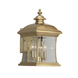Cordelia Lighting Yorkshire Polished Brass Lantern 4 Light Outdoor Wall Mount HC0269
