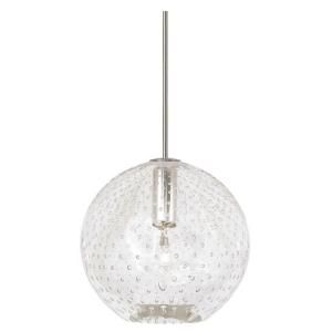 LBL Lighting Bulle 1 Light Hanging Satin Nickel Mini Pendant with Clear Shade HS348CRSC1B35MPT