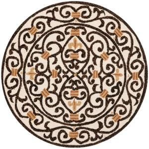 Safavieh Chelsea Ivory/Brown 4 ft. x 4 ft. Round Area Rug HK11H 4R