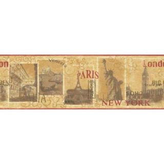 The Wallpaper Company 8.2 in. x 15 ft. Red and Yellow World Cities Border WC1281004