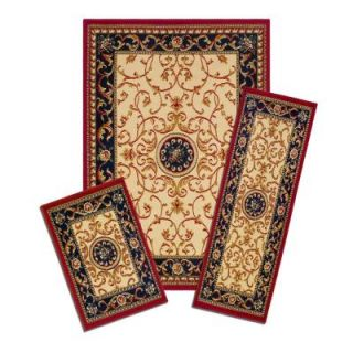 Capri Wrought Iron Medallion 3 Piece Set incl. 5 ft. x 7 ft. Area Rug, Matching 22 in. x 59 in. Runner and 22 in. x 31 in. Mat XX35/372 W