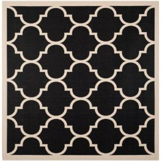 Safavieh Courtyard Black/Beige 5.3 ft. x 5.3 ft. Square Area Rug CY6914 266 5SQ