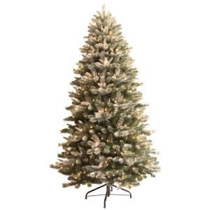 GE 7.5 ft. Pre Lit Frosted Pine Artificial Christmas Tree with Hard/Soft Needles and Clear Frosted Lights DISCONTINUED 29756HD