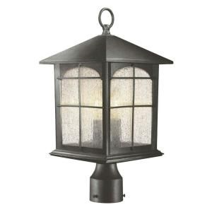 Hampton Bay 3 Light Outdoor Aged Iron Post Lantern Y37031 151