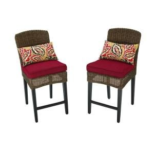 Hampton Bay Walnut Creek Patio High Dining Chair with Red Cushion (2 Pack) FRS10013H Red