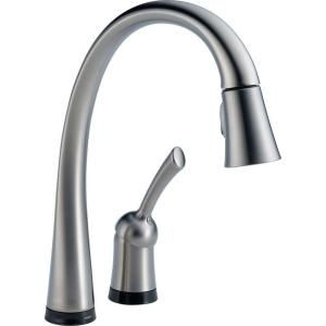 Delta Pilar Single Handle Pull Down Sprayer Kitchen Faucet with Touch2O Technology in Arctic Stainless 980T AR DST