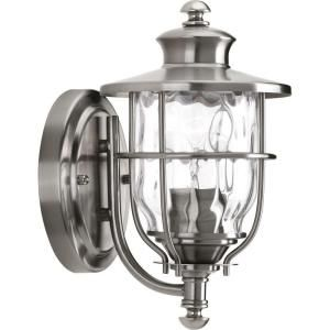 Progress Lighting Beacon Collection Wall Mount 1 Light Outdoor Stainless Steel Lantern P6024 135DI