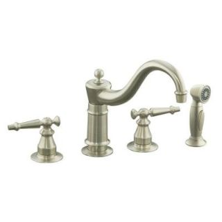 KOHLER Antique 2 Handle Kitchen Faucet in Vibrant Brushed Nickel K 158 4 BN