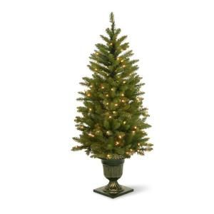 4.5 ft. Pre Lit LED Dunhill Fir Potted Artificial Christmas Tree with Clear Lights DUH 320LV 45S
