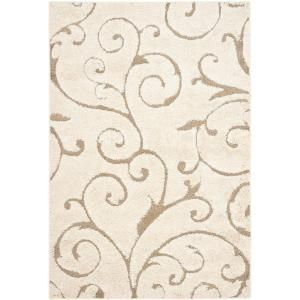 Safavieh Shag Cream/Beige 6 ft. x 9 ft. Area Rug SG455 1113 6