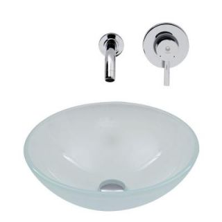 Vigo Vessel Sink in White Frost and Wall Mount Faucet Set in Chrome VGT272