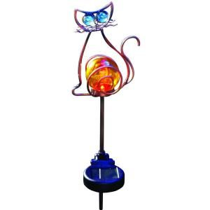 Moonrays Outdoor Bronze Solar Powered Color Changing LED Cat Stake Light DISCONTINUED 92211