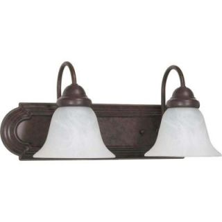 Glomar Ballerina 2 Light Old Bronze Vanity with Alabaster Glass Bell Shades HD 324