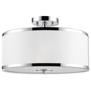 Concord Collection 2 Light Chrome Semi Flush Fixture with White Fabric Shade 23065 C2A