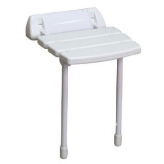 14 in. Wall Mount Slatted Folding Shower Seat with Legs in White ISS193