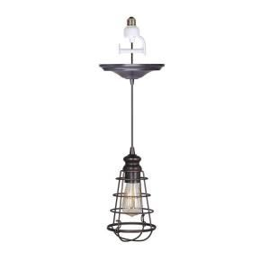 Home Decorators Collection Cage 1 Light Brushed Bronze Pendant with Conversion Kit 1879900280