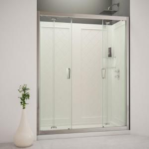 DreamLine Butterfly 60 in. x 76 3/4 in. Bi Fold Trackless Shower Door in Chrome with Shower Base and Back Wall Kit DL 6122C 01CL