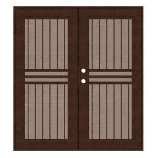 Unique Home Designs Plain Bar 60 in. x 80 in. Copper Left Hand Surface Mount Aluminum Security Door with Desert Sand Perforated Screen 1S1001JL1CCP3A