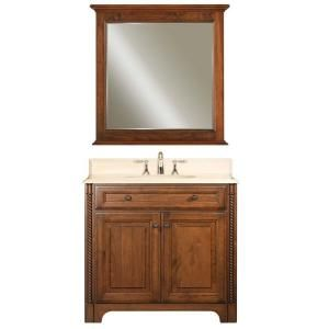 Water Creation Spain 36 in. Vanity in Classic Golden Straw with Marble Vanity Top in Sahara and Matching Mirror SPAIN 36B