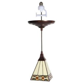 Worth Home Products 1 Light Antique Bronze Instant Pendant Light Conversion Kit with Tiffany Style Glass Shade PKN 5030
