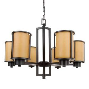 Glomar Odeon 6 Light Aged Bronze Convertible Up/Down Chandelier with Parchment Glass Shade HD 2854