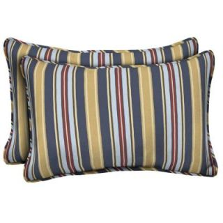 Hampton Bay Harbor Spring Stripe Outdoor Lumbar Pillow (2 Pack) DISCONTINUED FD03121B 9D2