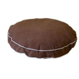 Large Microfiber Round A Bout Dog Bed   Chocolate with Linen Piping 02195