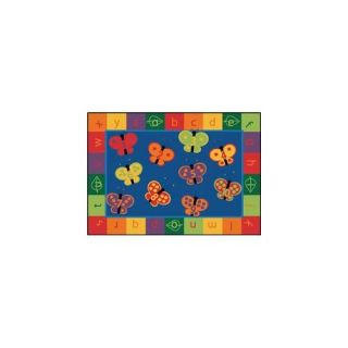 Carpets For Kids 3515 123 ABC Butterfly Fun 5. 42 ft.  x 7. 67 ft.  Rectangle Rug Decor