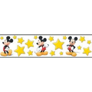 Disney 5.13 in. x 15 ft. Bright Yellow Mickey Stars Border DISCONTINUED WC1286084