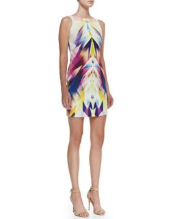 Womens Sleeveless Bateau Neck Geo Print Dress, Multicolor   Nicole Miller