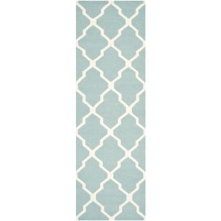 Safavieh Hand woven Moroccan Dhurrie Light Blue Wool Rug (26 X 12)